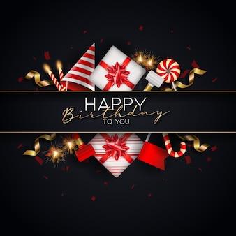 Creatieve zwarte gelukkige verjaardagsachtergrond met verjaardagselementen vector