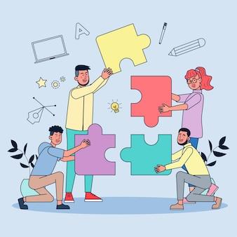Creatieven werken samen om werken te creëren. alsof je verbinding maakt met een complete legpuzzel