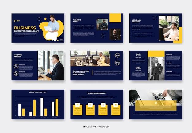 Creativ zakelijke presentatiediasjabloon of pwoerpoint-sjabloon voor bedrijfsprofiel