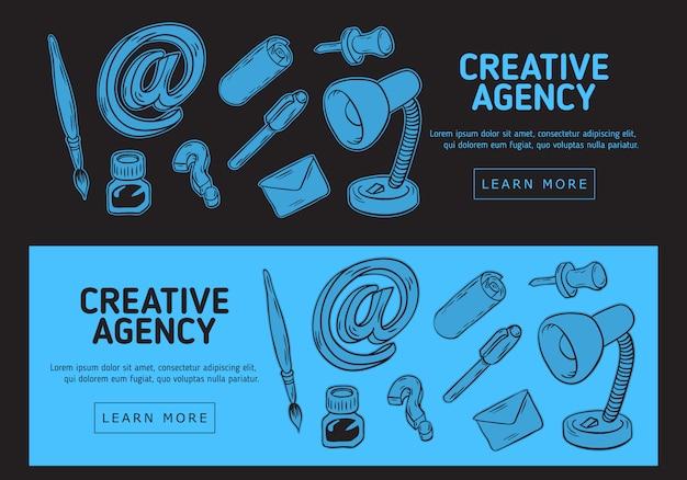 Creative agency office-webbanner. handgetekende schetsmatige illustraties van essentiële verwante objecten van elke dag werkende dingen en hulpmiddelen.