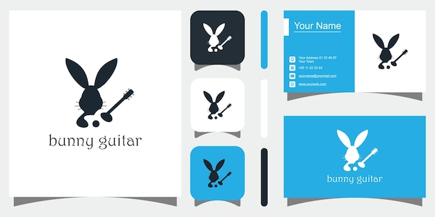 Creative bunny concept sjablonen pictogram en visitekaartje premium vector