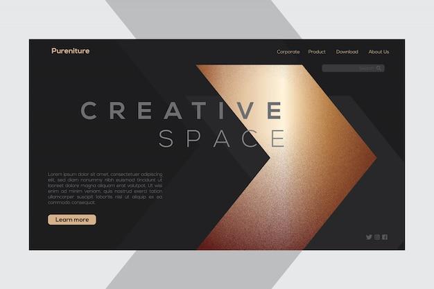 Creative dark mode-bestemmingspagina met pijl