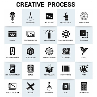 Creative process icon set