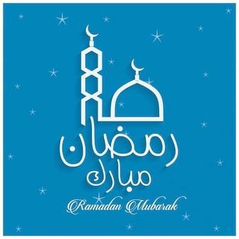 Creative ramadan kareem mubarak moskee letters blauwe achtergrond