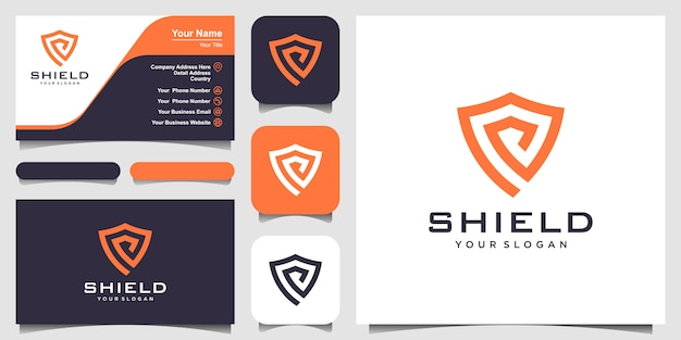 Creative shield concept logo sjablonen. en visitekaartje