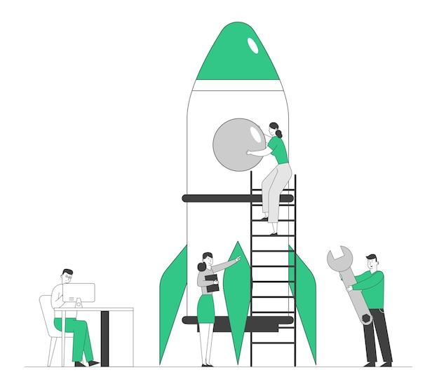 Creative team rocket launch, zakenmensen