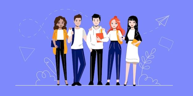 Creativiteit, brainstormen, innovatie en teamwerkconcept. groep succesvolle zakelijke aanhangers mensen of studenten staat samen op een rij. cartoon lineaire omtrek platte vectorillustratie.