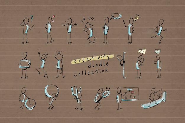 Creativiteit doodle karakters collectie