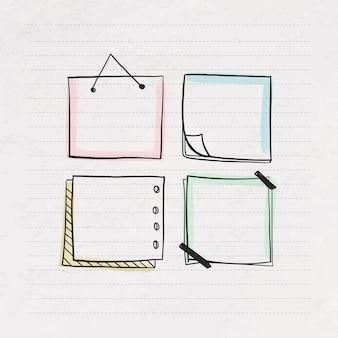 Creativiteit doodle papier collectie ontwerp