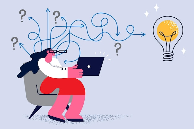 Creativiteit en innovatief ideeënconcept. jonge lachende vrouw stripfiguur in glazen zittend op laptop met geweldig idee in gedachten met gloeilamp boven vectorillustratie