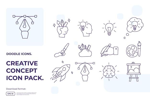 Creativiteit gerelateerde doodle pictogram concept met hersensymbool.