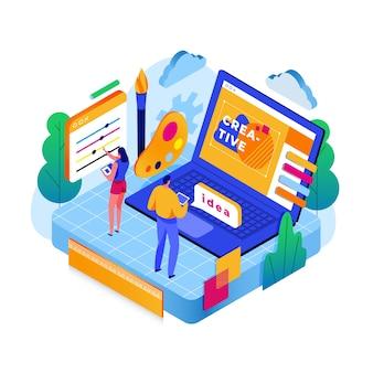 Creativiteit in online websites isometrisch concept