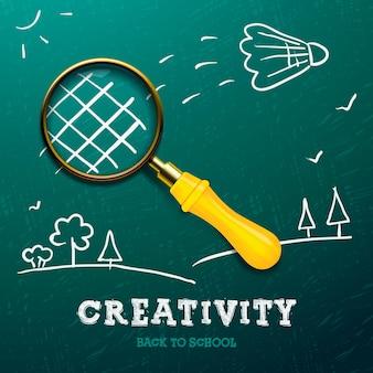 Creativiteit leren racket gemaakt met vergrootglas schets op het bord vector afbeelding