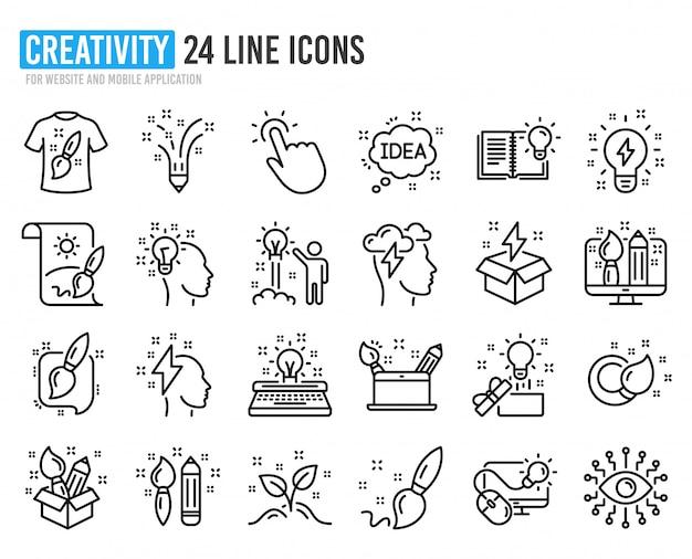Creativiteit lijn pictogrammen. set van pictogrammen voor ontwerp, idee en inspiratie