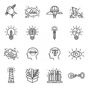 Creativiteit, verbeelding, probleemoplossing, mind power pictogrammen instellen. dunne lijnstijl voorraad.