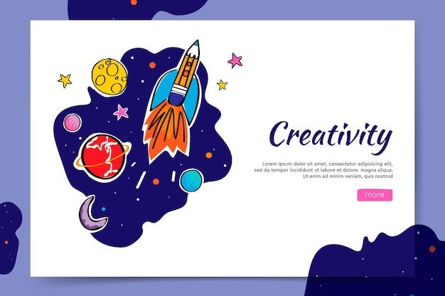 Creativiteit website en ruimte grafische doodle raket en planeten vectorillustratie