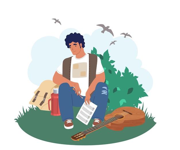 Creativiteitscrisis. triest muzikant gitarist zittend op gras met potlood en lied muzieknoten in handen, platte vectorillustratie. creatieve crisis en burn-out, depressie, mentale stress.