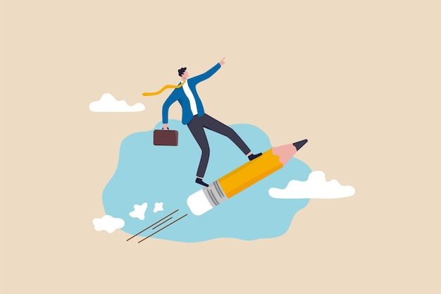 Creativiteitsidee loopt voorop, onderwijs of kennis helpt bij loopbaanontwikkeling, schrijfvaardigheid of kunstenaarsmindsetconcept, slimme zakenman die een potloodraket berijdt die hoog in de lucht vliegt.