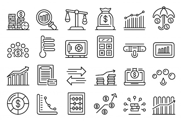 Credit score iconen set, overzicht stijl