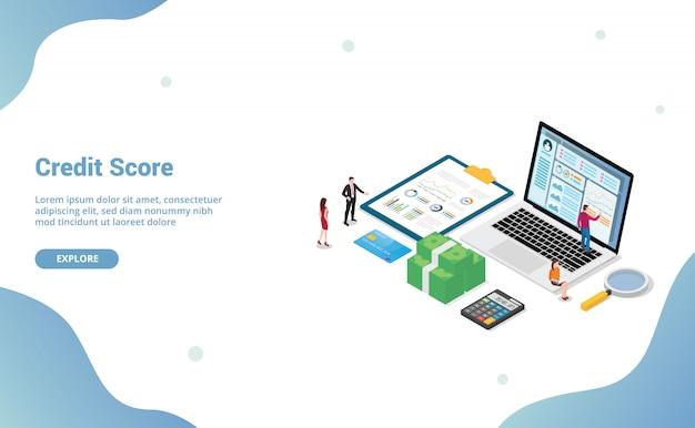 Credit score met team mensen analyse persoonlijke financiële controle met isometrisch