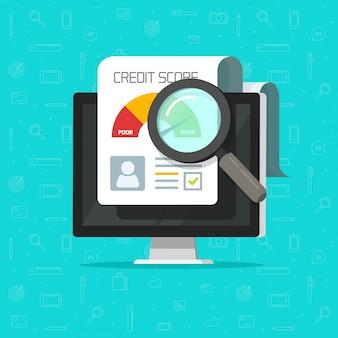 Credit score online rapport onderzoeksdocument op computer platte cartoon