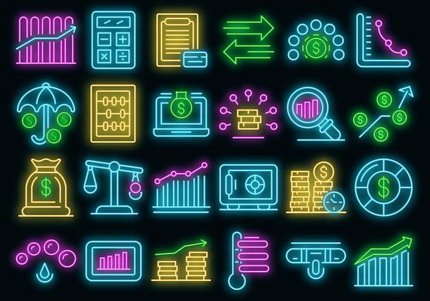 Credit score pictogrammen instellen. overzichtsreeks kredietscore vectorpictogrammen neonkleur op zwart