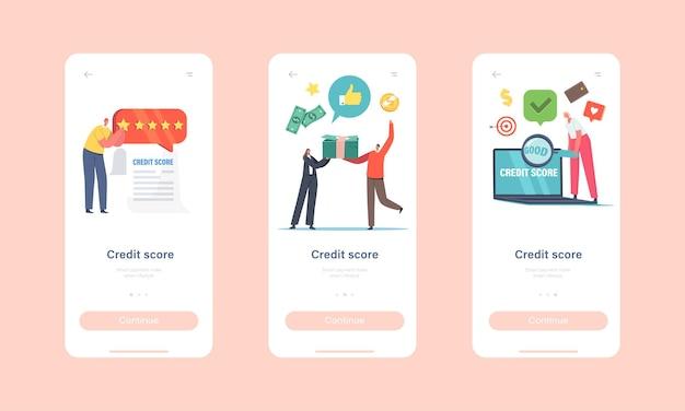 Credit score rating mobiele app-pagina onboard-schermsjabloon. personages nemen krediet op de bank. kredietwaardigheid van de klant en hoog tariefconcept. kleine mensen met geldstapel. cartoon vectorillustratie