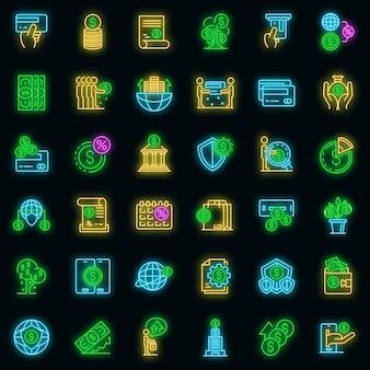 Credit union pictogrammen instellen. overzichtsreeks van kredietunie vectorpictogrammen neonkleur op zwart
