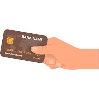 Creditcard in de hand vector pictogram illustratie