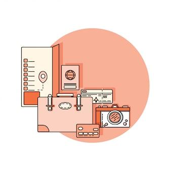 Creditcard, instapkaart, vliegticket. reizigerbagage