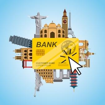 Creditcard met iconische monumenten van de wereld