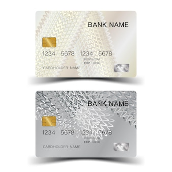 Creditcard met zilveren elementenontwerp en inspiratie van abstract