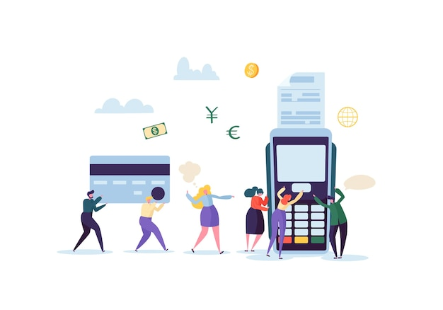 Creditcardbetaling door terminal concept met platte mensen