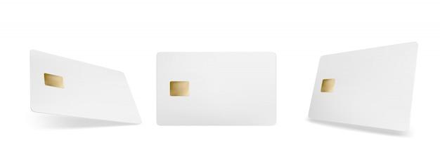 Creditcardmodel, geïsoleerde lege sjabloon met chip