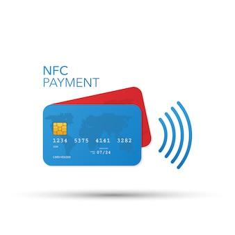 Creditcardpictogram zonder contact, kaart met radiogolf buiten teken, creditcardbetaling