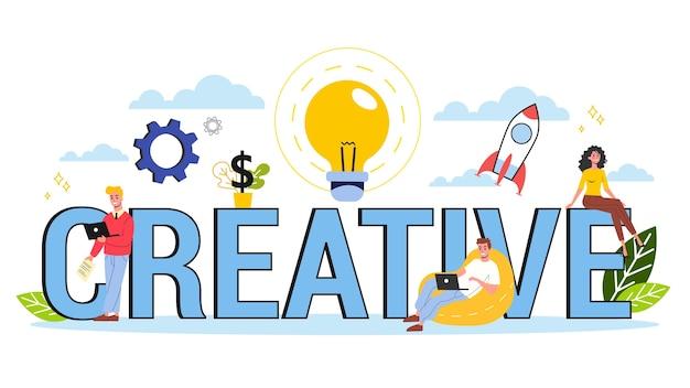 Creëer een concept. idee van creatief denken en verbeeldingskracht