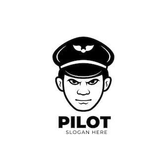 Creëert zwarte lijn piloot mascotte logo-ontwerp