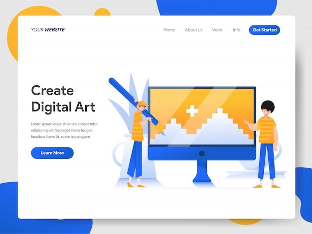 Creëren van digitale kunst op computerconcept