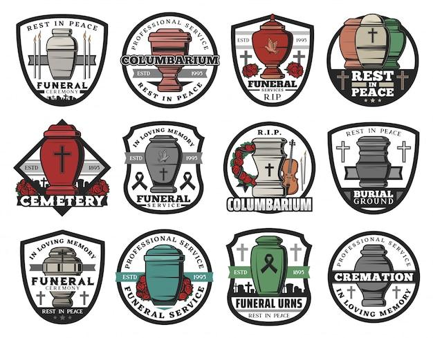 Crematie urn insignes van uitvaartdienst. columbarium vazen, potten en potten voor as met grafsteenkruisen, herdenkingskransen en kaarsen, rip-linten, duiven en crucifixen