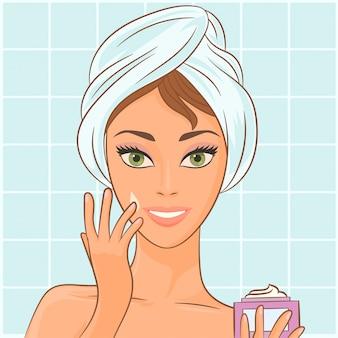 Crème aanbrengen op het gezicht