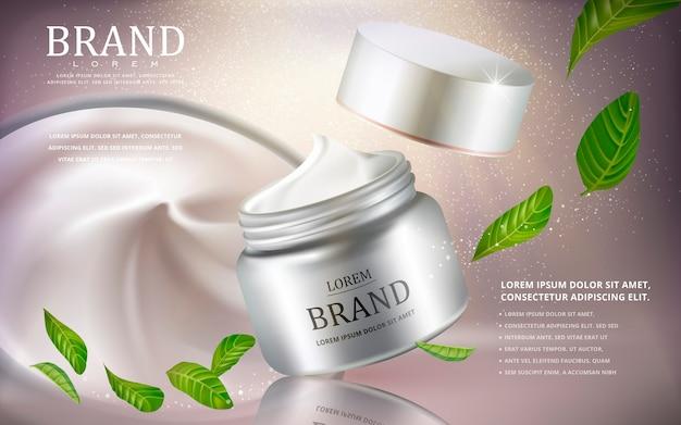 Crème cosmetische advertenties met zilveren crème container