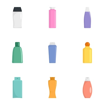 Crème fles pictogrammenset, vlakke stijl