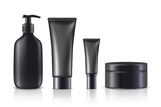 Crème flessen en potten in zwart geïsoleerd