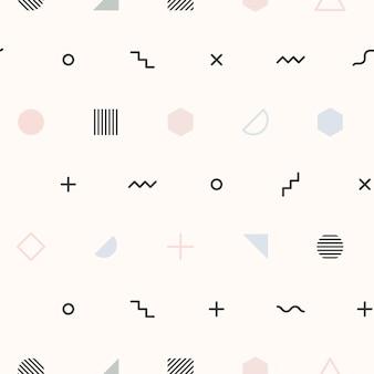 Crème memphis patroon behang