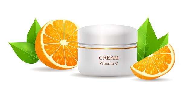 Crème met vitamine c in glanzende buisvector