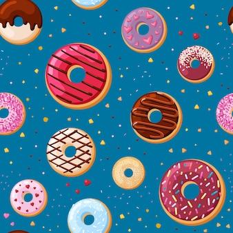 Crème smakelijke donuts naadloze patroon. lekker gebak met room besprenkeld karamel en chocoladepoeder feestelijke traktatie met designer heerlijke maaswerk decoratie van vakantie. vector snoep cartoon.