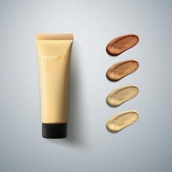 Crème tube met vloeibare foundation met uitstrijkjes. reclameposter voor cosmetische producten. vrouwen schoonheid illustratie. facial concealer voor make-up.