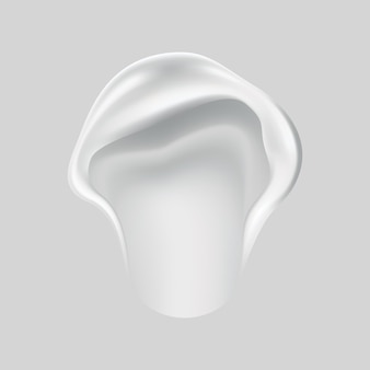 Crème uitstrijkje van cosmetische witte crème voor de huid geïsoleerd op de achtergrond. reclame voor huidverzorging of vochtinbrengende crème. romig glad, uitstrijkje cosmetisch product. lotionstaal voor gezichtsverzorging