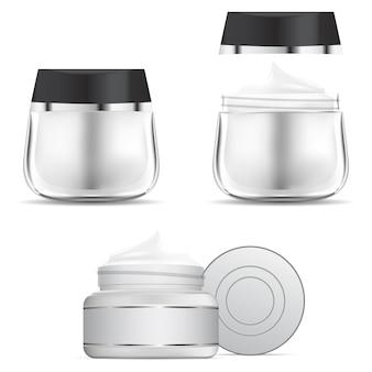 Crèmekleurige pot. cosmetische crème glazen fles sjabloon