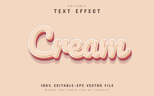 Crèmekleurige tekst, bewerkbaar 3d-teksteffect